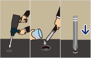 φ60mmの下穴に接着剤を流し入れ本体を穴にはめ込み硬化させるだけで簡単に施工が出来ます。